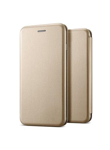Microsonic Samsung Galaxy M21 Kılıf Ultra Slim Leather Design Flip Cover Altın